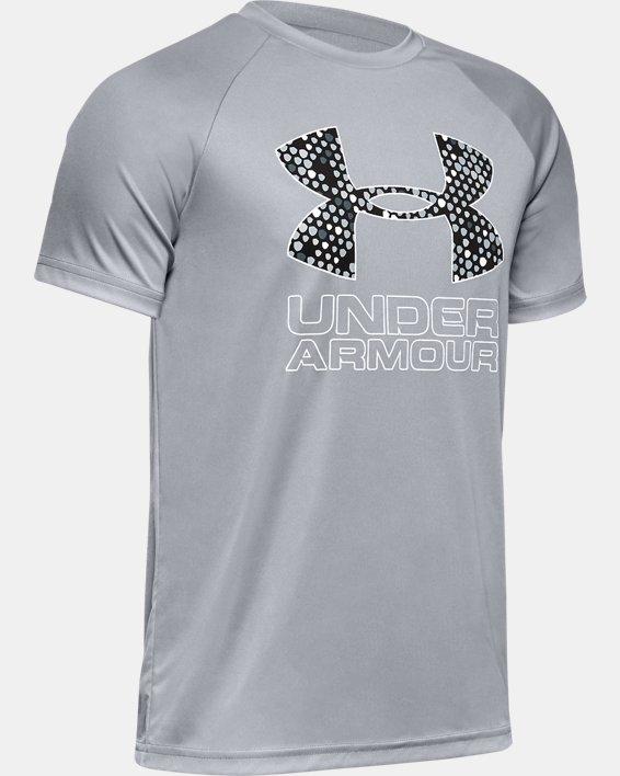 Boys' UA Tech™ Hybrid Print Fill Logo T-Shirt, Gray, pdpMainDesktop image number 0