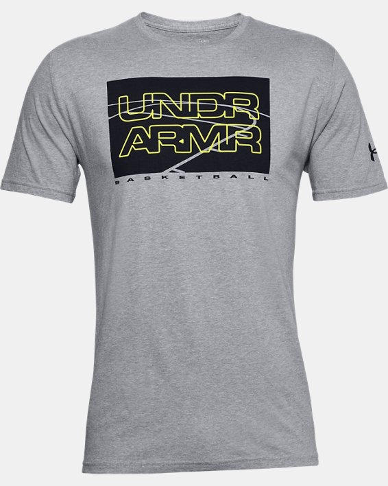Men's UA UNDR ARMR Court Graphic T-Shirt, Gray, pdpMainDesktop image number 4