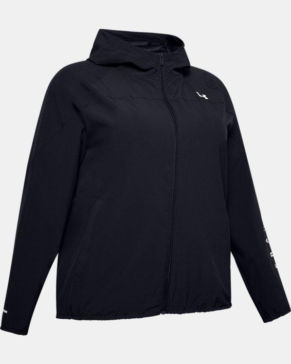 Women's UA Woven Branded Full Zip Hoodie, Black, pdpMainDesktop image number 4