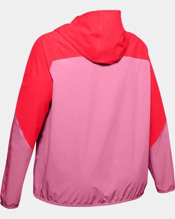 Women's UA Woven Branded Full Zip Hoodie, Pink, pdpMainDesktop image number 5