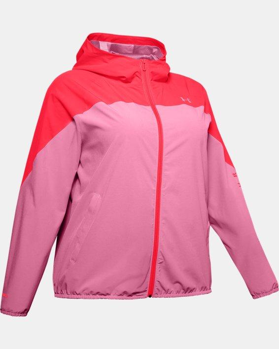 Women's UA Woven Branded Full Zip Hoodie, Pink, pdpMainDesktop image number 4