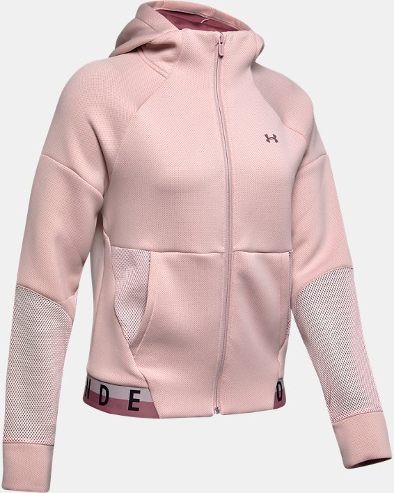 Women's UA /MOVE Mesh Inset Full Zip, Pink, pdpMainDesktop image number 3