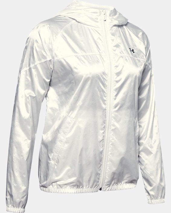 Women's UA Woven Translucent Full Zip, White, pdpMainDesktop image number 3