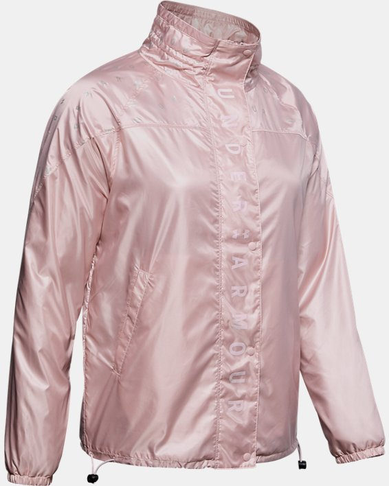 Women's UA RECOVER™ Woven Iridescent Full Zip, Pink, pdpMainDesktop image number 3
