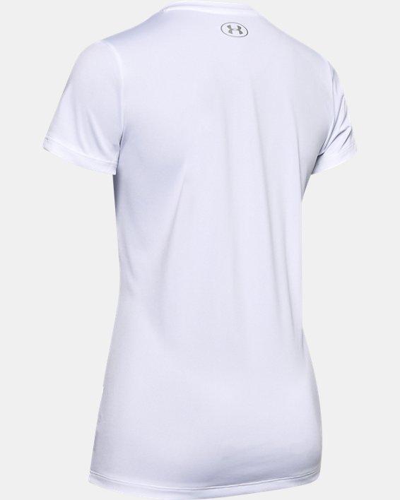 Women's UA Velocity Graphic V-Neck Short Sleeve, White, pdpMainDesktop image number 5