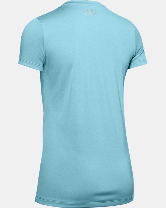 Women's UA Velocity Graphic V-Neck Short Sleeve, Blue, pdpMainDesktop image number 5