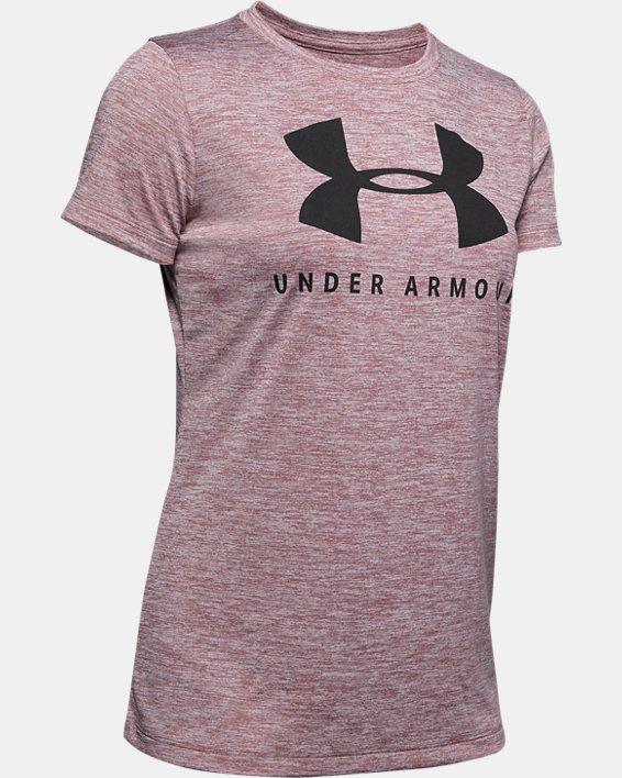 Women's UA Tech™ Logo Graphic Twist Short Sleeve Crew, Pink, pdpMainDesktop image number 4