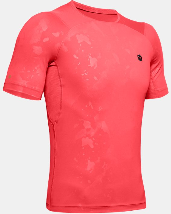Men's UA RUSH™ HeatGear® Compression Upstream Camo Short Sleeve, Red, pdpMainDesktop image number 3