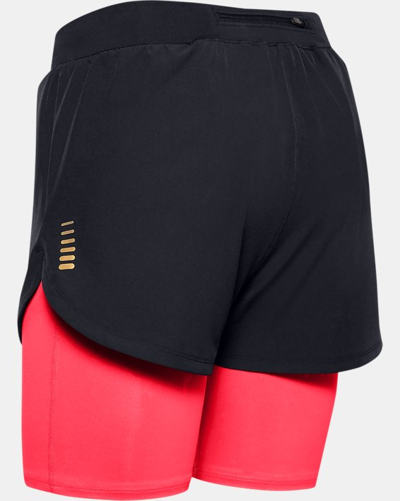Women's UA RUSH™ Run Upstream Camo 2-in-1 Shorts, Black, pdpMainDesktop image number 4