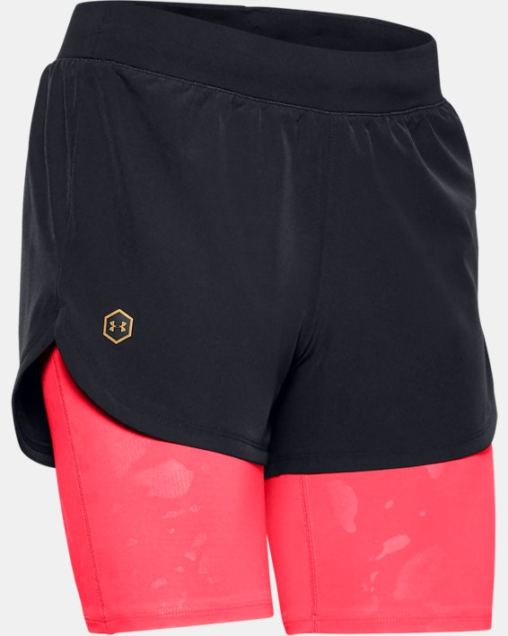Women's UA RUSH™ Run Upstream Camo 2-in-1 Shorts, Black, pdpMainDesktop image number 3
