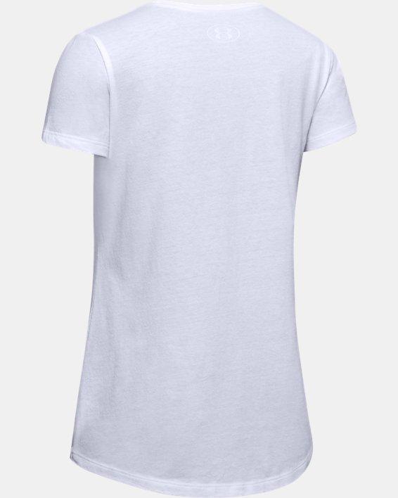 Girls' UA Tech™ Upstream Camo Logo Short Sleeve, White, pdpMainDesktop image number 1