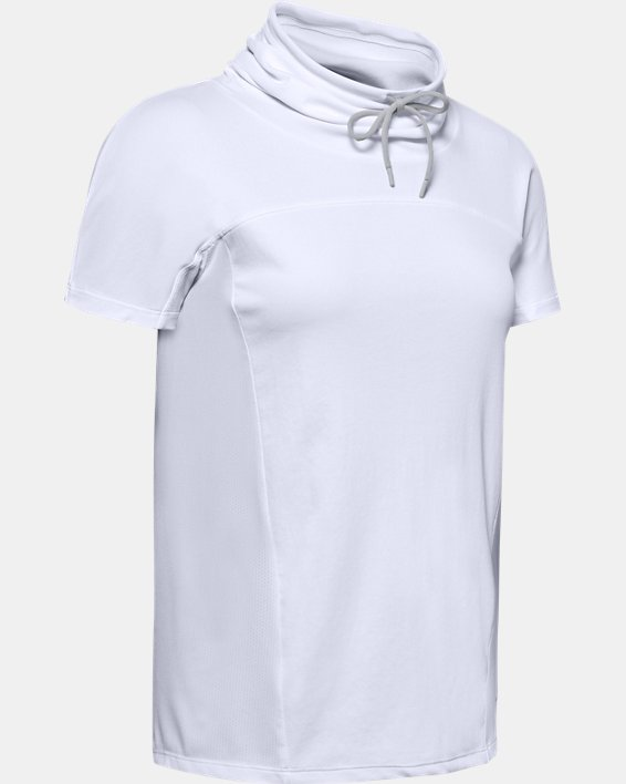 Women's UA Iso0Chill Cowl Neck Short Sleeve, White, pdpMainDesktop image number 3