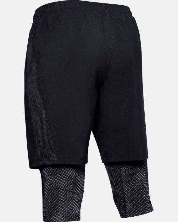 Men's UA Launch SW Long 2-in-1 Printed Shorts, Black, pdpMainDesktop image number 4