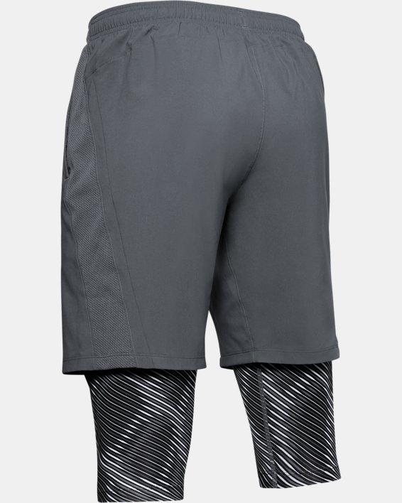 Men's UA Launch SW Long 2-in-1 Printed Shorts, Gray, pdpMainDesktop image number 4