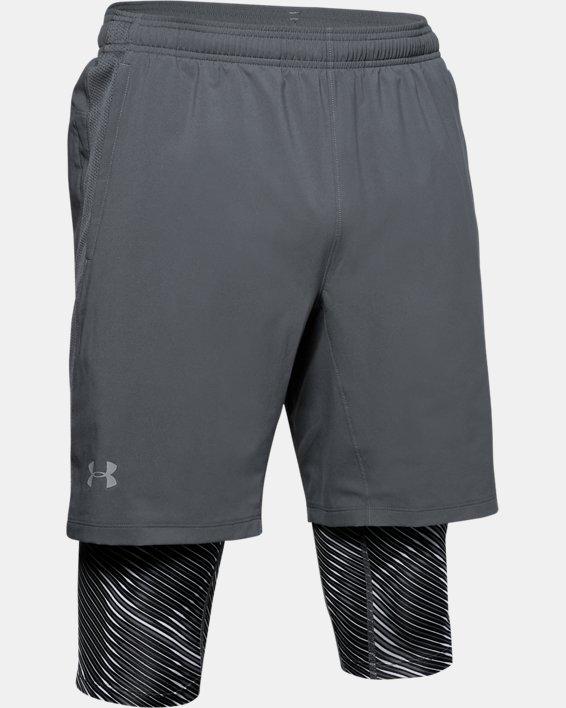 Men's UA Launch SW Long 2-in-1 Printed Shorts, Gray, pdpMainDesktop image number 3