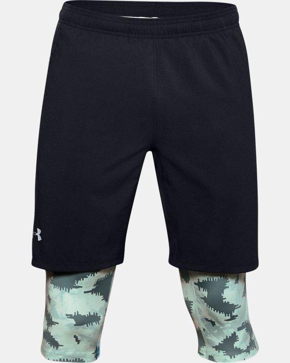Men's UA Launch SW Long 2-in-1 Printed Shorts, Blue, pdpMainDesktop image number 3