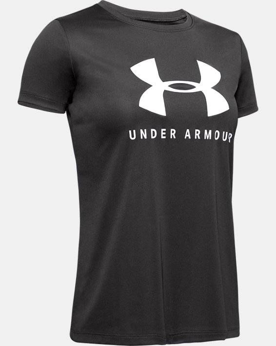 Girls' UA Tech™ Big Logo Short Sleeve, Gray, pdpMainDesktop image number 0
