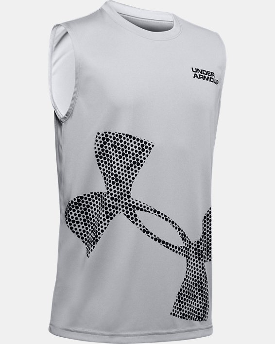 Boys' UA Tech™ Exploded Logo Tank, Gray, pdpMainDesktop image number 0