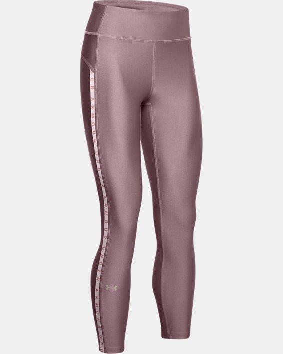 Women's HeatGear® Armour Vertical Branded Ankle Crop, Pink, pdpMainDesktop image number 4