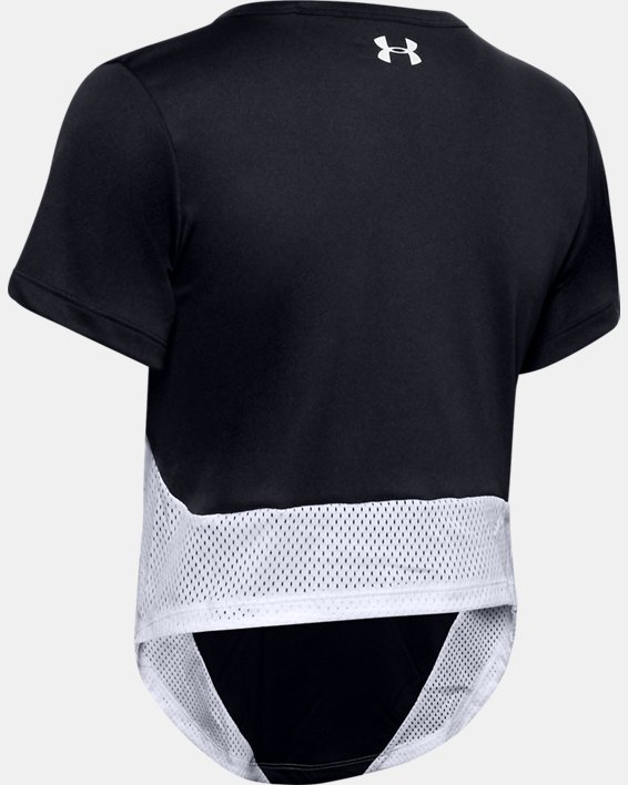 Women's HeatGear® Armour Sport Mesh Panel Short Sleeve, Black, pdpMainDesktop image number 4