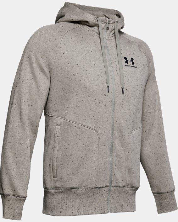 Men's UA Speckled Fleece Full Zip Hoodie, Green, pdpMainDesktop image number 4