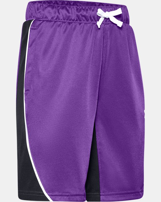 Girls' UA Basketball Shorts, Purple, pdpMainDesktop image number 0