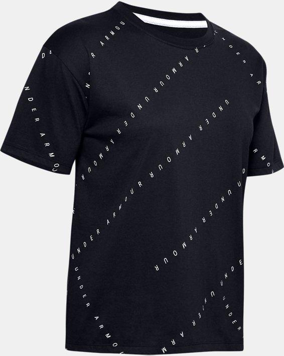 Women's UA Logo Print Live Short Sleeve, Black, pdpMainDesktop image number 4