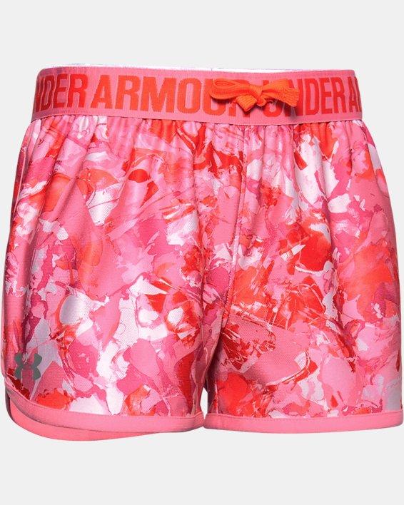 Girls' UA Play Up Print Shorts, Pink, pdpMainDesktop image number 0