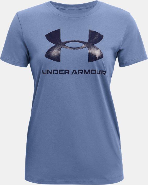 Women's UA Sportstyle Graphic Short Sleeve, Blue, pdpMainDesktop image number 4