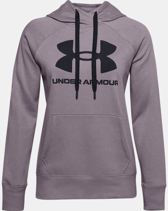 Women's UA Rival Fleece Logo Hoodie, Purple, pdpMainDesktop image number 3