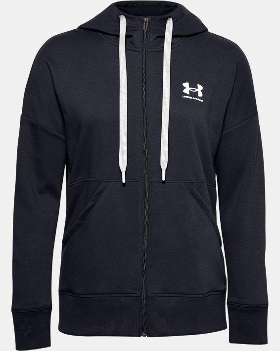 Women's UA Rival Fleece Full Zip Hoodie, Black, pdpMainDesktop image number 3
