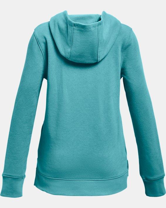 Girls' UA Rival Fleece Logo Hoodie, Blue, pdpMainDesktop image number 1