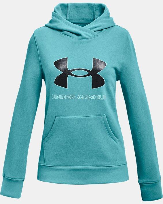 Girls' UA Rival Fleece Logo Hoodie, Blue, pdpMainDesktop image number 0