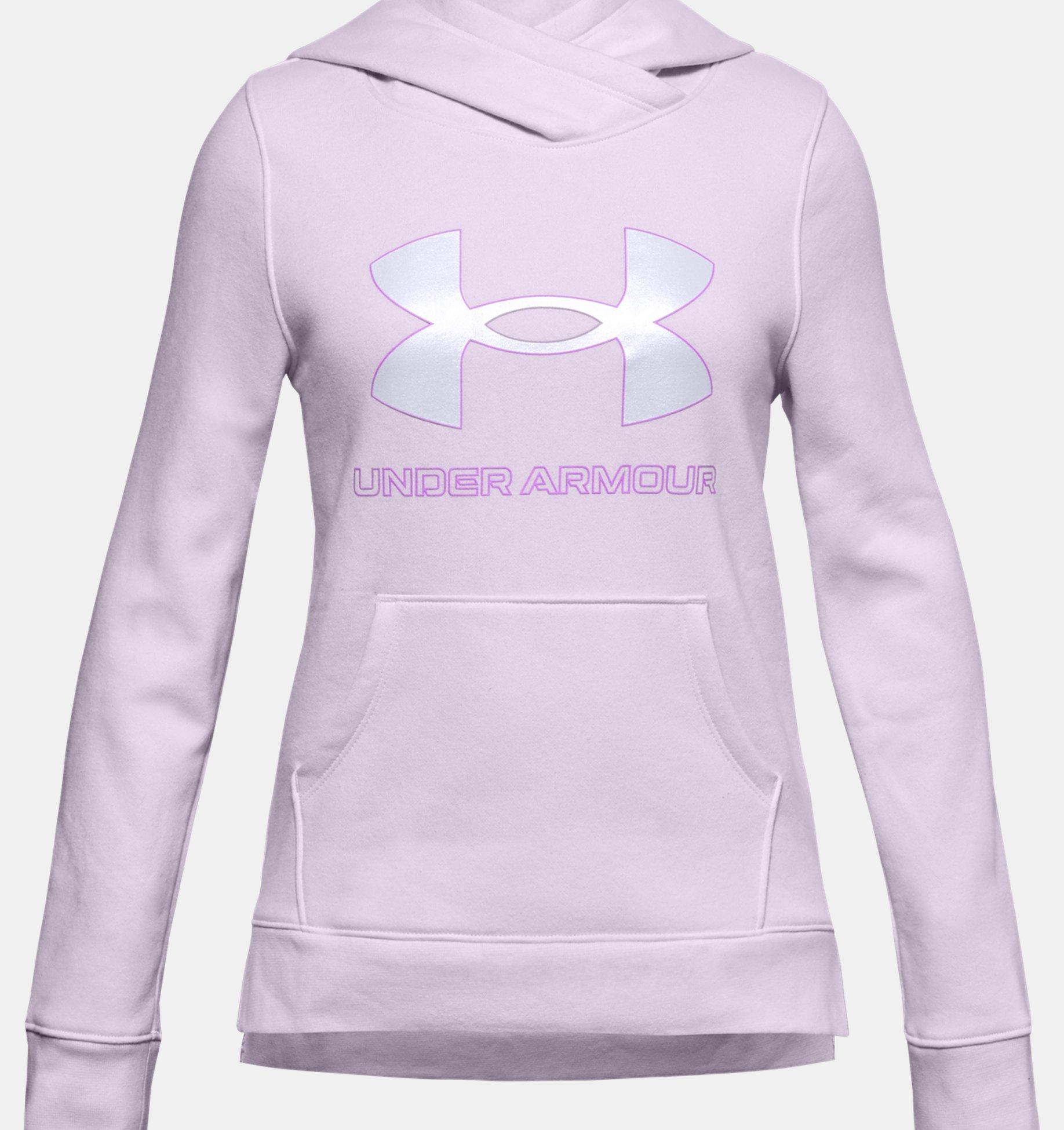 Girls' UA Rival Fleece Logo Hoodie, Purple, pdpZoomDesktop image number 0