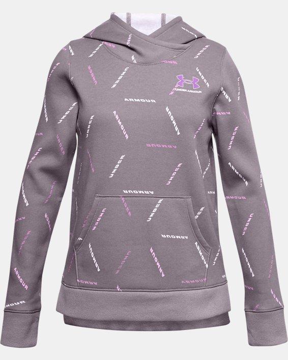 Girls' UA Rival Fleece Printed Hoodie, Purple, pdpMainDesktop image number 0