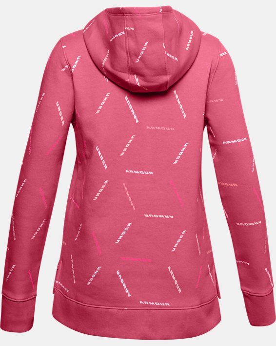 Girls' UA Rival Fleece Printed Hoodie, Pink, pdpMainDesktop image number 1