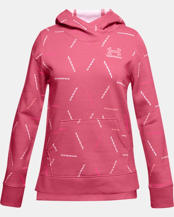 Girls' UA Rival Fleece Printed Hoodie, Pink, pdpMainDesktop image number 0