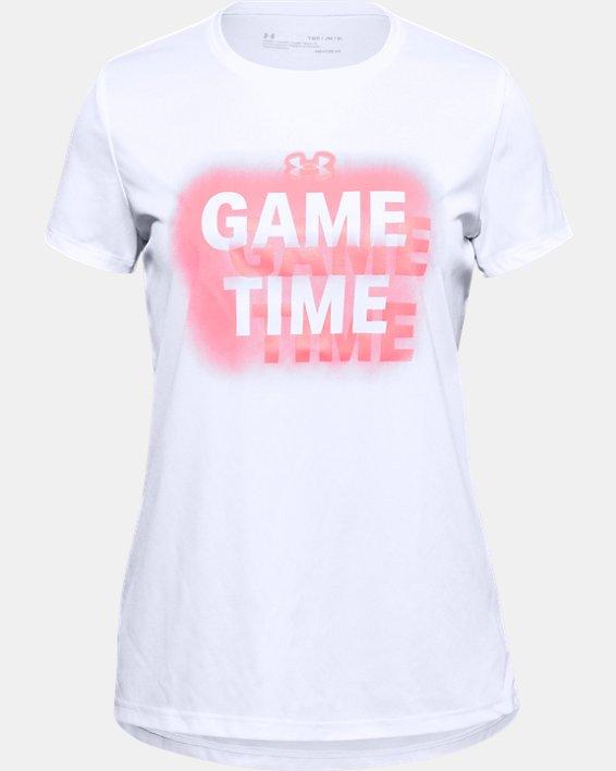 Girls' UA Tech™ Sport inspired Short Sleeve, White, pdpMainDesktop image number 0