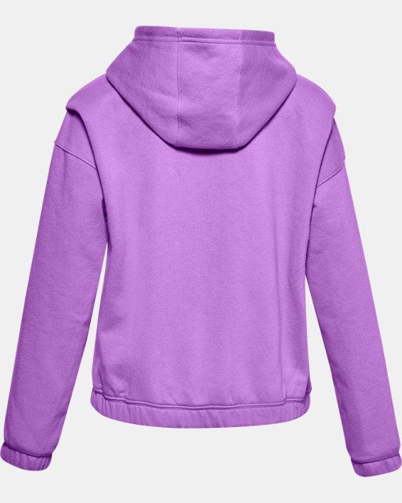 Girls' UA Rival Fleece Full Zip Hoodie, Purple, pdpMainDesktop image number 1