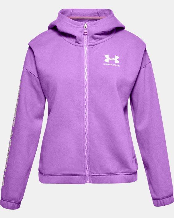 Girls' UA Rival Fleece Full Zip Hoodie, Purple, pdpMainDesktop image number 0
