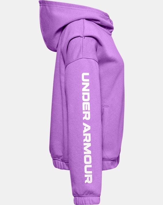 Girls' UA Rival Fleece Full Zip Hoodie, Purple, pdpMainDesktop image number 2