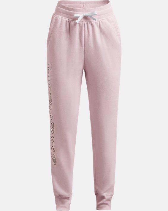Girls' UA Rival Fleece Joggers, Pink, pdpMainDesktop image number 0