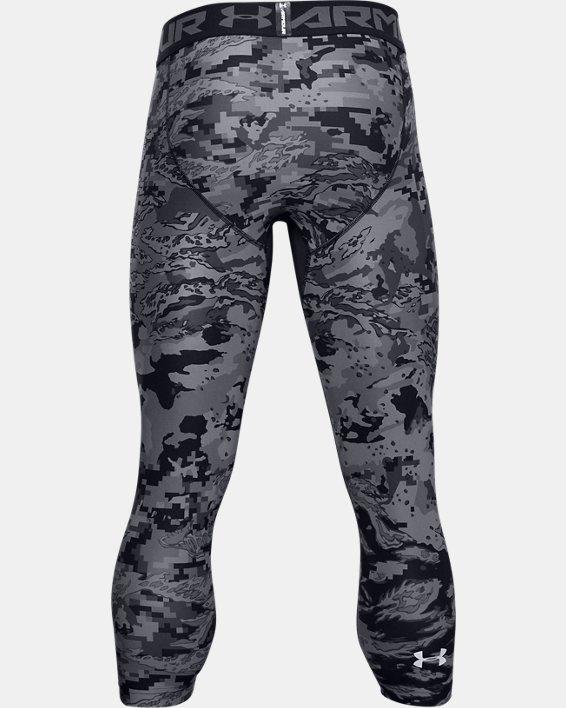 Men's HeatGear® Printed ¾ Leggings, Black, pdpMainDesktop image number 5
