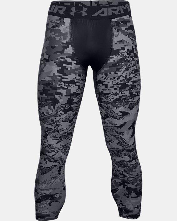 Men's HeatGear® Printed ¾ Leggings, Black, pdpMainDesktop image number 4