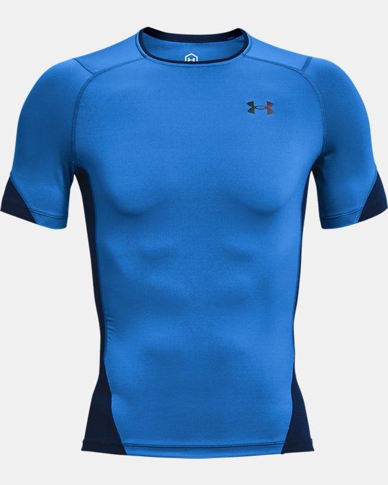 Men's UA RUSH™ HeatGear® 2.0 Compression Short Sleeve, Blue, pdpMainDesktop image number 4