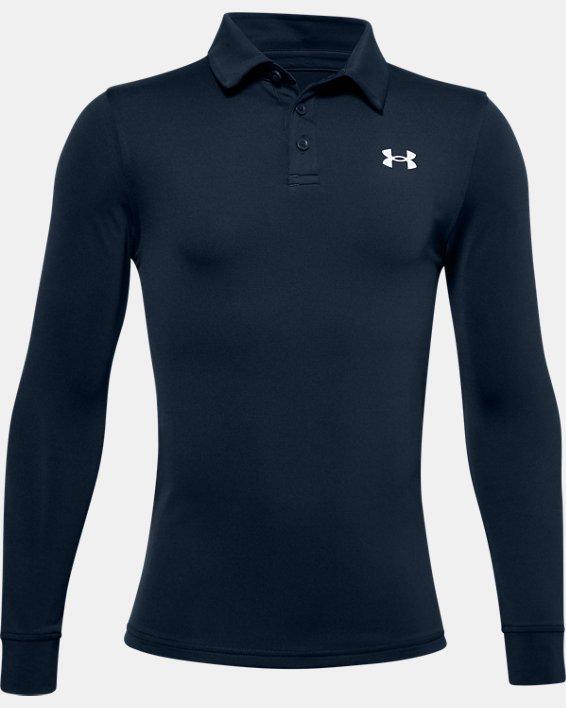 Boys' UA Playoff Long Sleeve Polo, Navy, pdpMainDesktop image number 0
