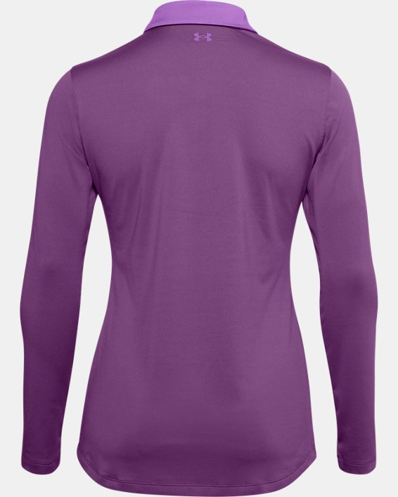 Women's UA Zinger Long Sleeve Polo, Purple, pdpMainDesktop image number 4