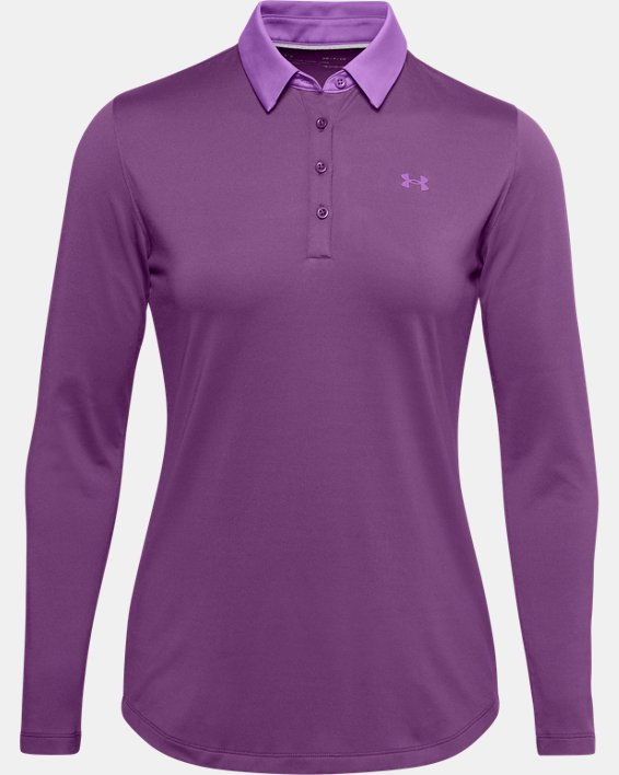Women's UA Zinger Long Sleeve Polo, Purple, pdpMainDesktop image number 3