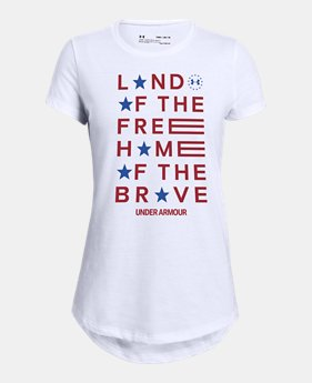 35977833 Girls' UA Freedom Land Of The Free Short Sleeve 2 Colors Available $20