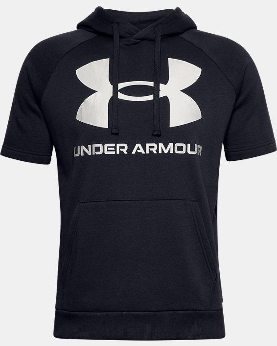 Sweat à capuche et manches courtes UA Rival Fleece Big Logo pour homme, Black, pdpMainDesktop image number 5